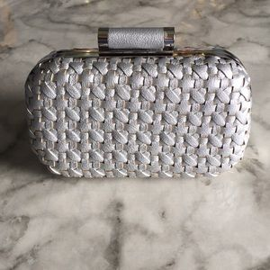 Handbags - Basket Weave Silver Clutch